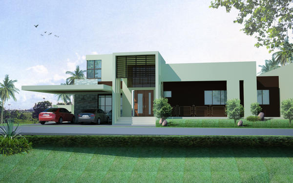 Minimalist house facade by theonjonel on deviantart for Modern minimalist house facade