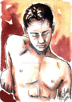 Male Nude. Red + Yellow 14