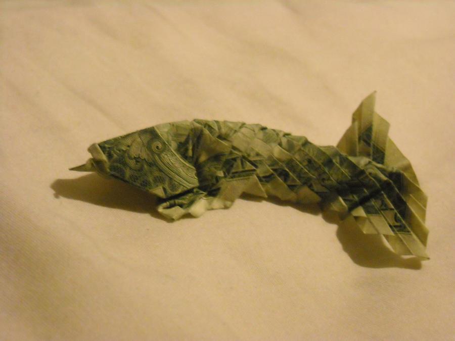 Origami koi by jophish126 on deviantart for Dollar bill koi fish