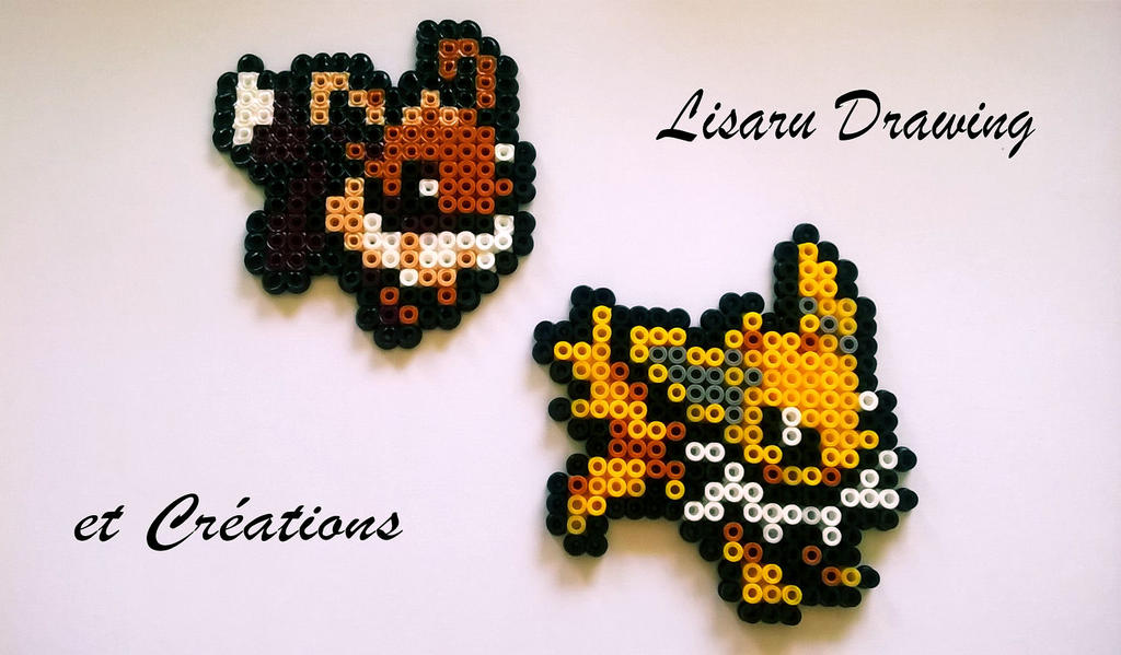 pokemon - evolie et voltalie - perle hama 5 mm by lisaru38