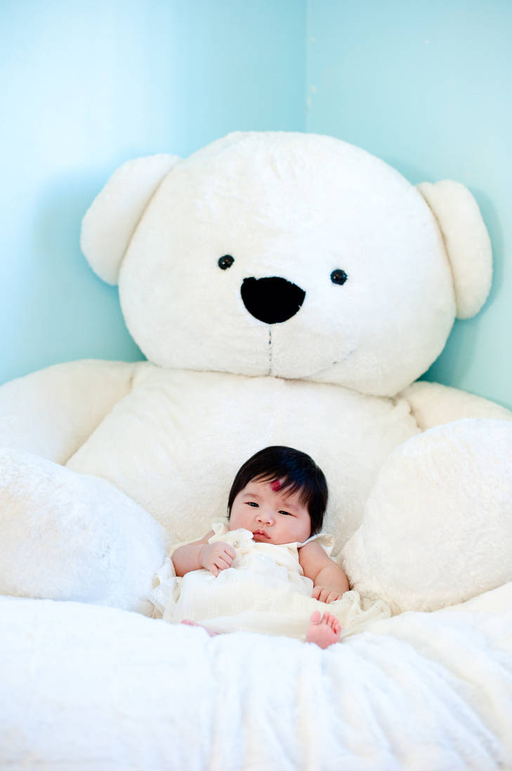 Baby Evelyn with Mr. Big Bear by lindaisontop