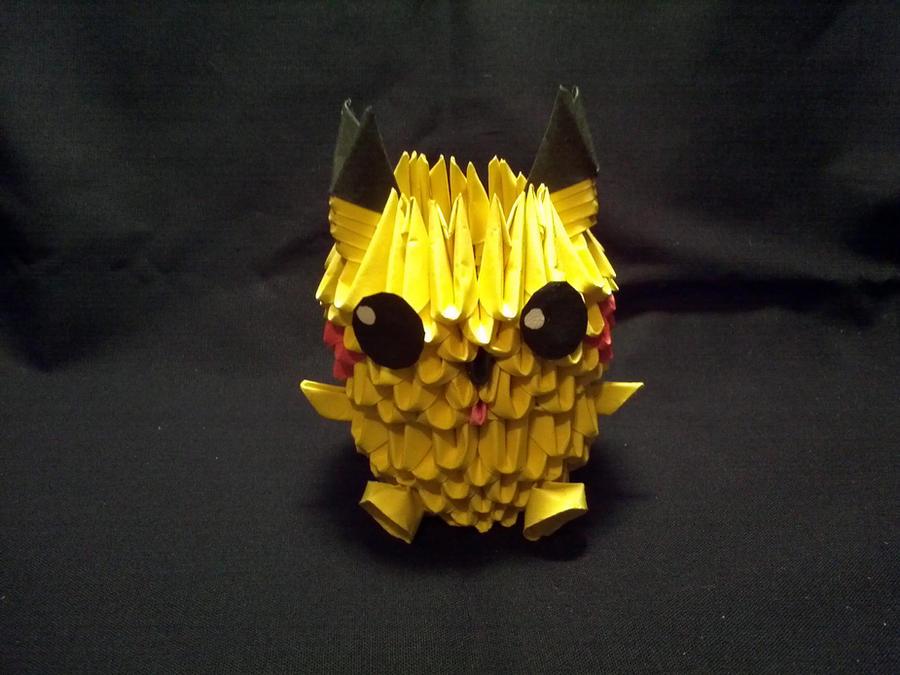 3D Origami Pikachu By Xanokah