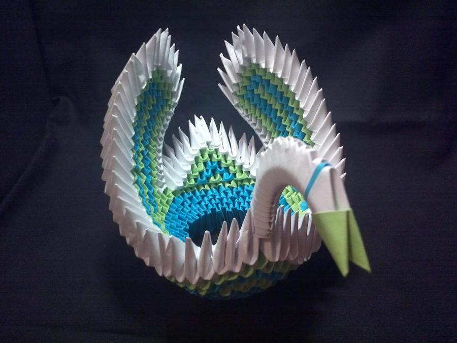 3d origami swan by xanokah on deviantart