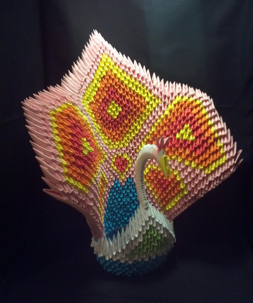 3d Origami Peacock Pink By Xanokah On Deviantart 3dorigamiswandiagram Diagram