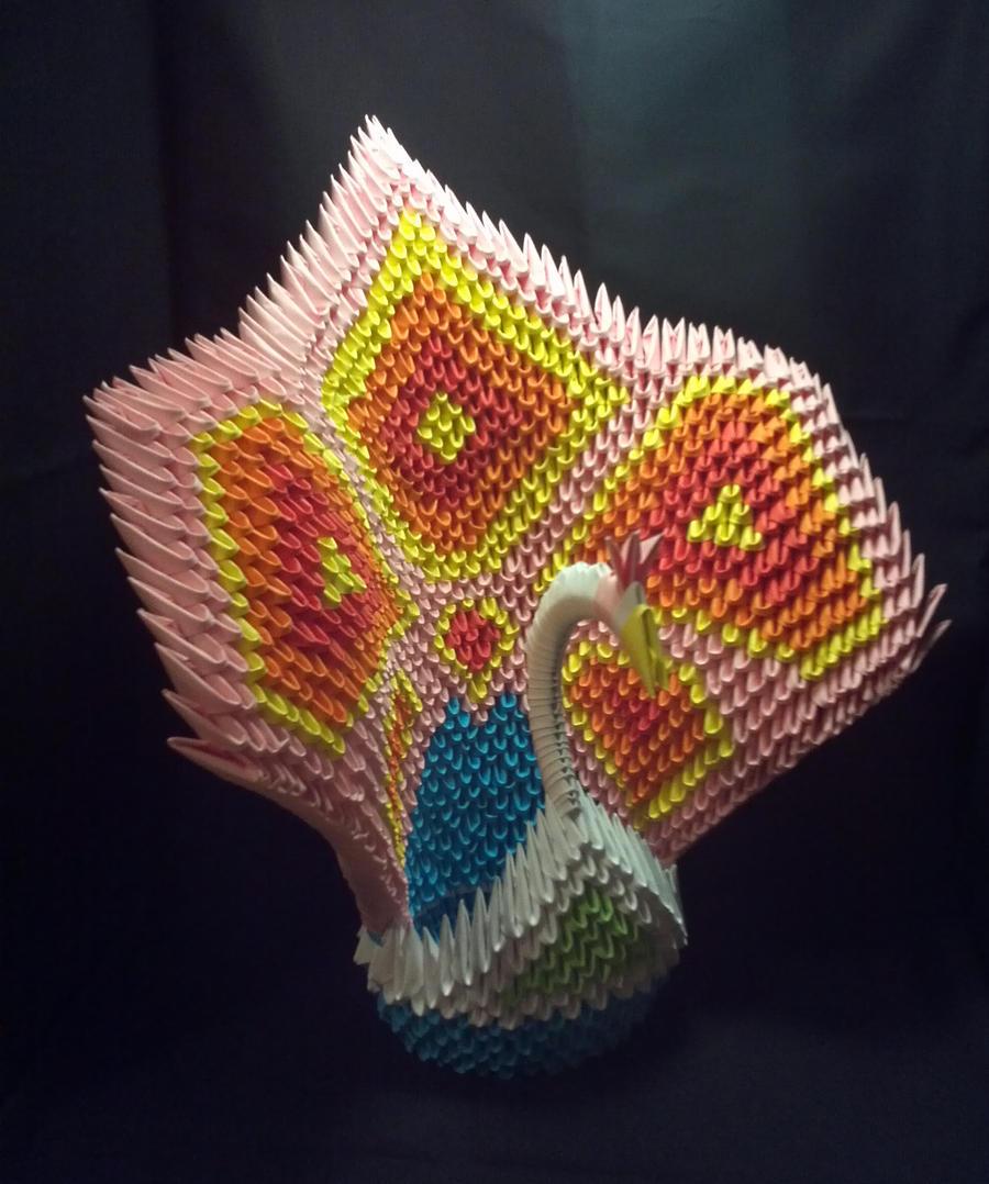 3D Origami Peacock (Pink) by Xanokah