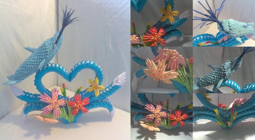 3D Origami Dolphin By Xanokah