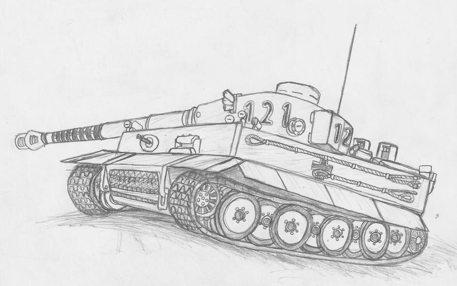 танк тигр фото карандашом
