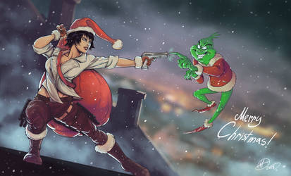 Marry Christmas with Lady and Grinch by amarcus88LG