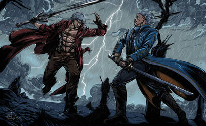 Dante VS Vergil (Devil May Cry) by amarcus88LG