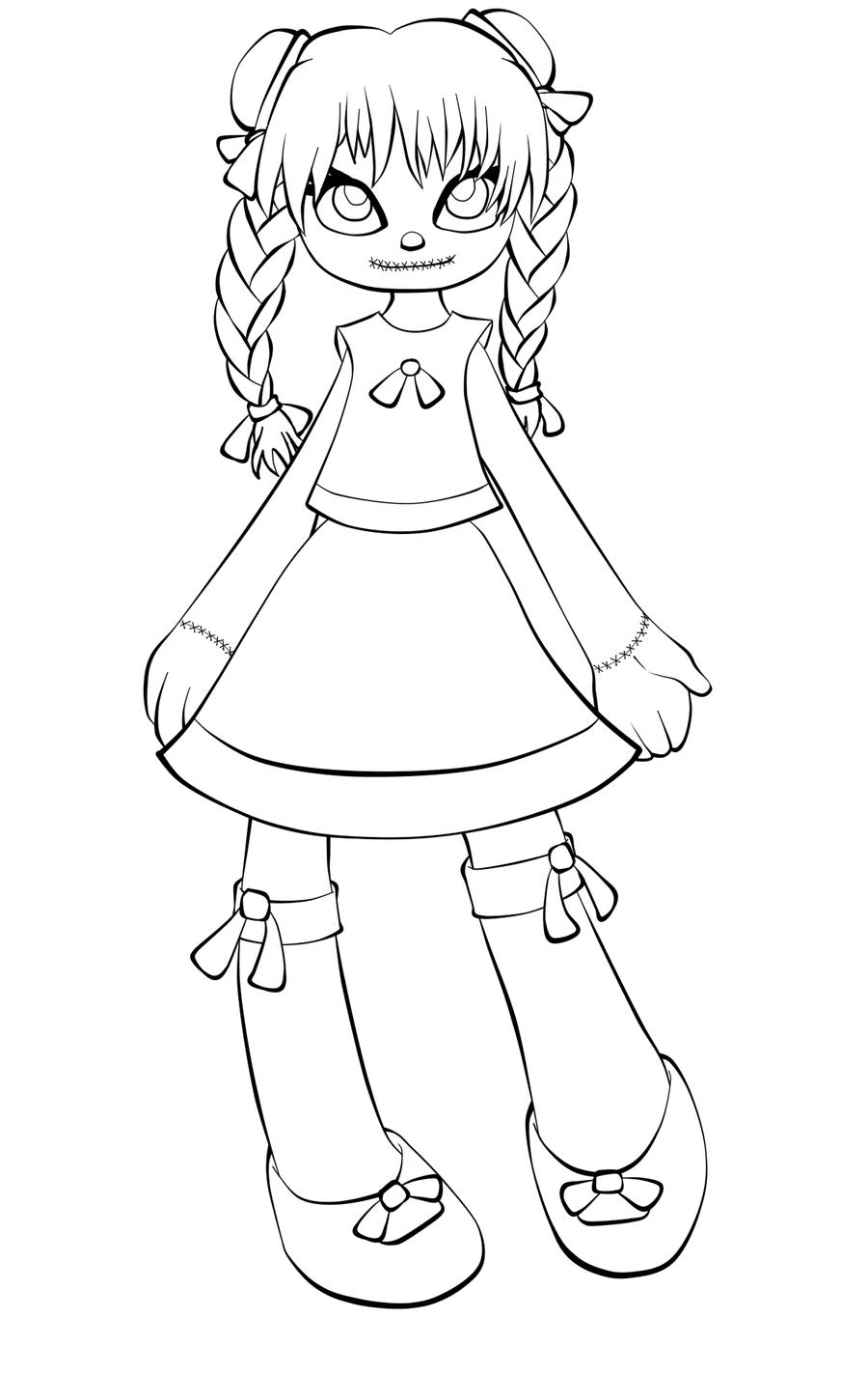 Childrens coloring sheet of a rag doll - Rag Doll Design Lines By Tsukiko Moonchild On Deviantart Strawberry Shortcake Doll Coloring Pages