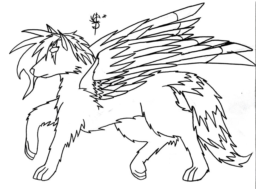 winged wolf lineart by sirenarose034 on deviantart