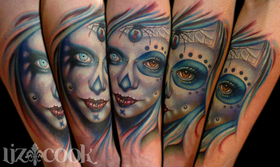 Day of the dead with a twist by LizCookTattoo