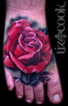 Red Rose Foot Tattoo