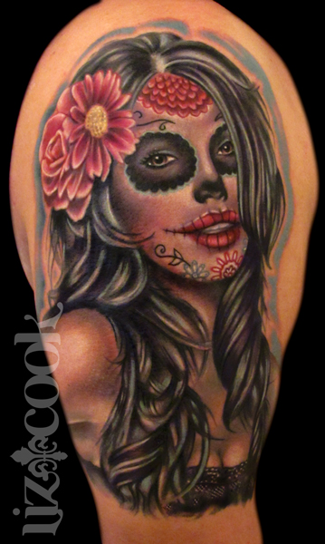 dia de los muertos tattoo by lizcooktattoo on deviantart