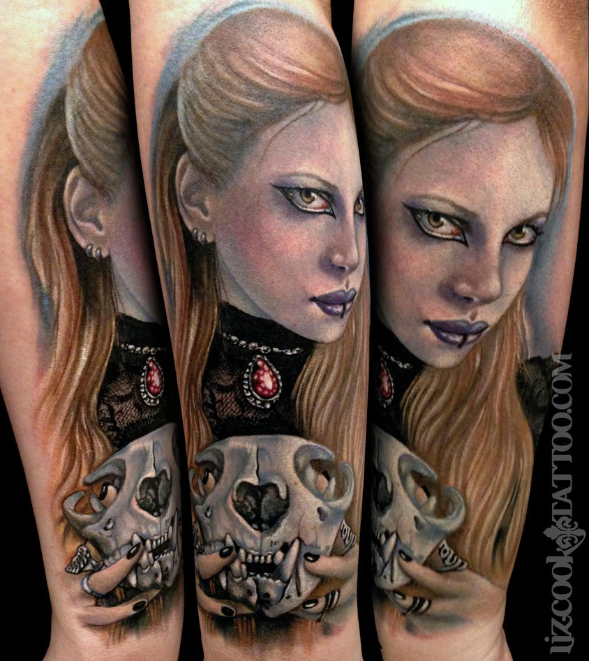 Jessica Evil Girl Cat Skull Watermarked by LizCookTattoo