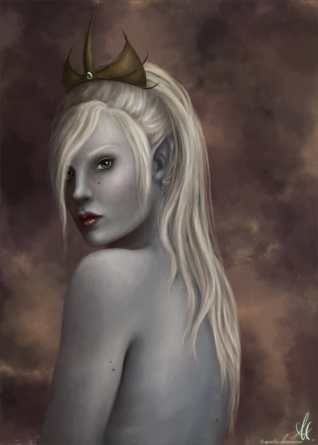 Portrait of a Dark Elf by Nehym