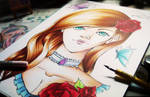 Copic drawing - Lady Rose by SakisakiYNana