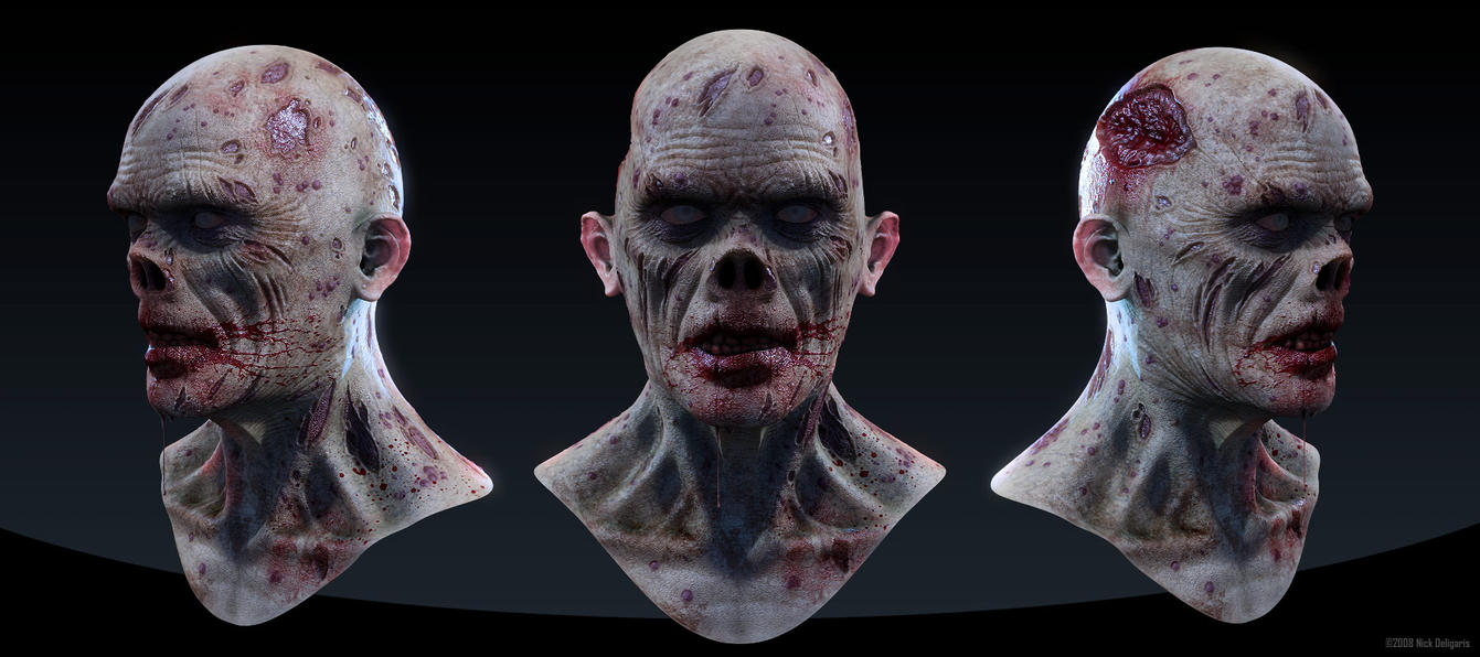 Zombie Head by Deligaris