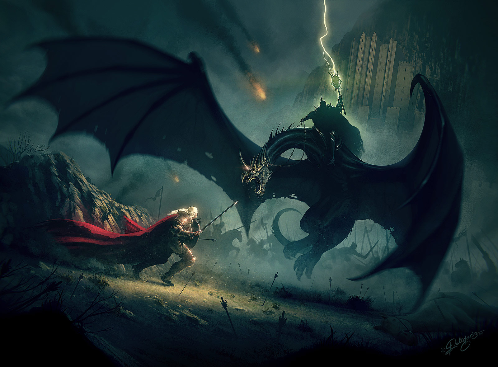 Eowyn and the Nazgul by Deligaris