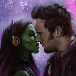 Gamora and Peter by emeraldcr0w