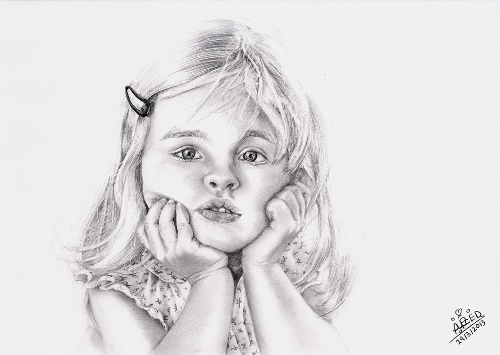 Little girl 2 pencil sketch by boudi alsayed