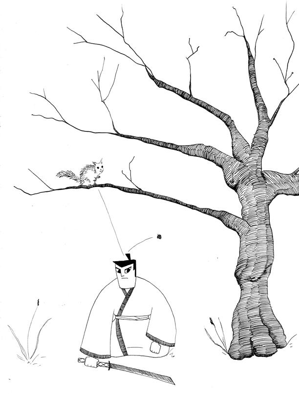 Samurai Jack and the Squirrel by lunavalse
