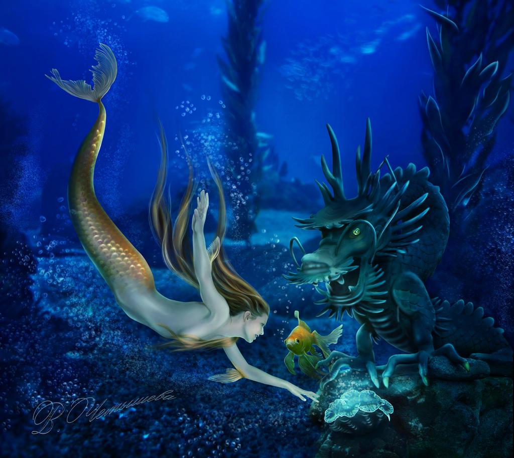 Beauty and the Beast. Mermaid Fairytale