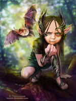 Little forest elf  with a warlike bat by veravik