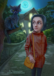 Coraline. illustration for the book by Neil Gaiman