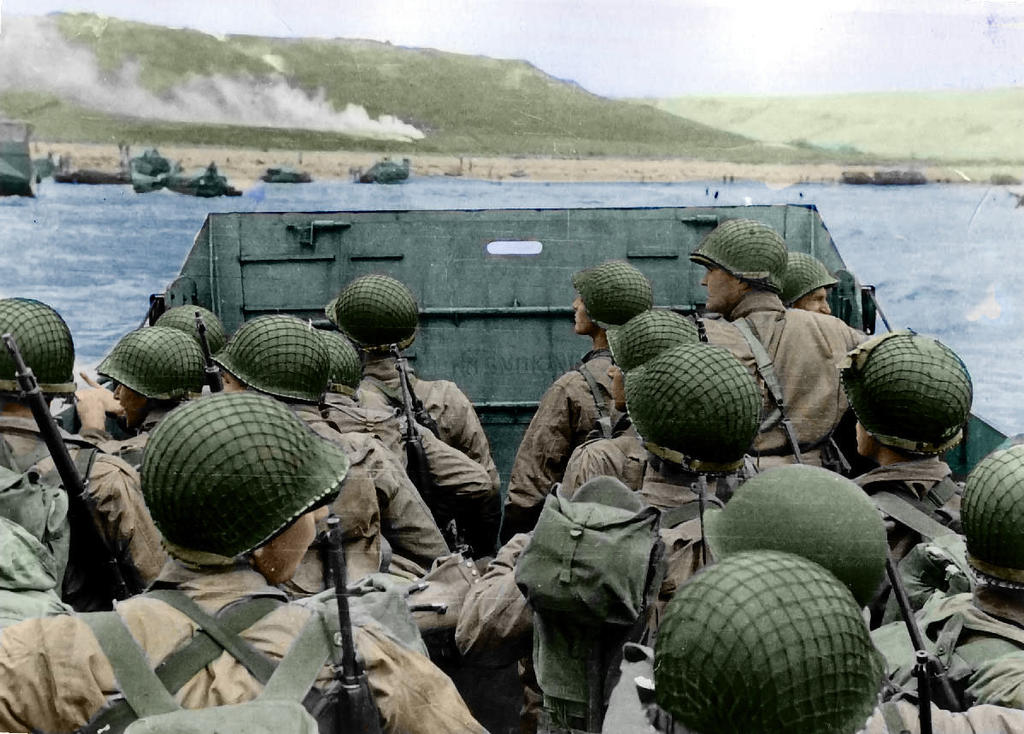 D-DAY France Approaching-Omaha color Restored by