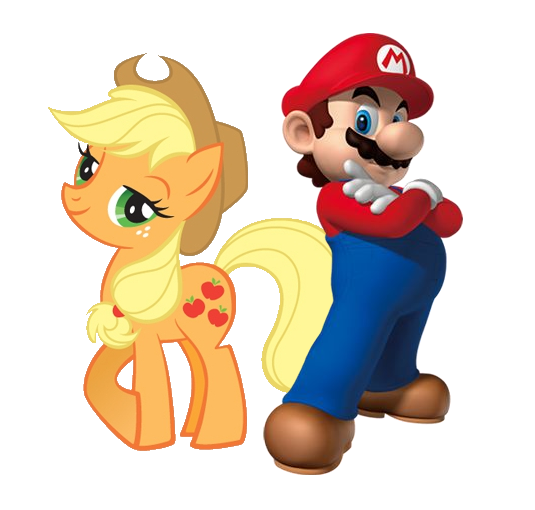 applejack_and_mario_by_williamguy-d427j5