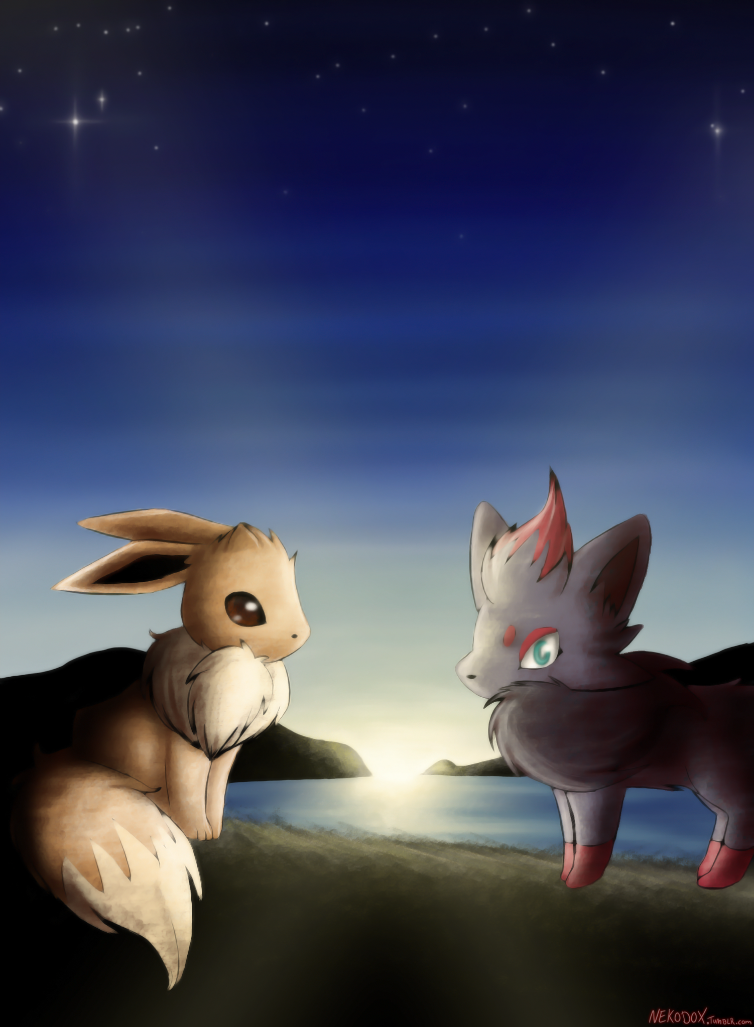 Eevee and Zorua by Nekodox