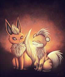 [Pokemon] Flareon + Growlithe by Nekodox