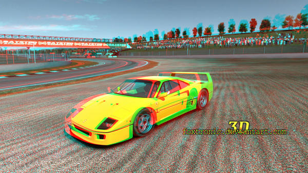 Yellow Ferrari [Anaglyph 3D] (Pic 1) by Foxtronic
