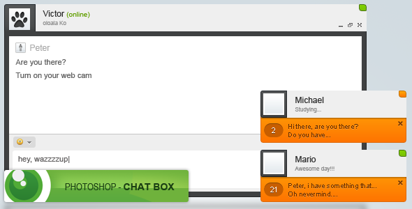 Chat interface (FREE PSD) by devzign