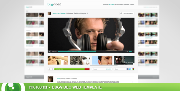 FREE - BugVideo free PSD web template by devzign