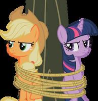 Applejack-Twilight - Tied to a Tree by midnite99