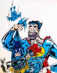 Batboy v Superduperman (Colored and Inked)