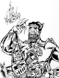 Superduperman v Batboy (Black  White Inks) by InsaneAsylum123