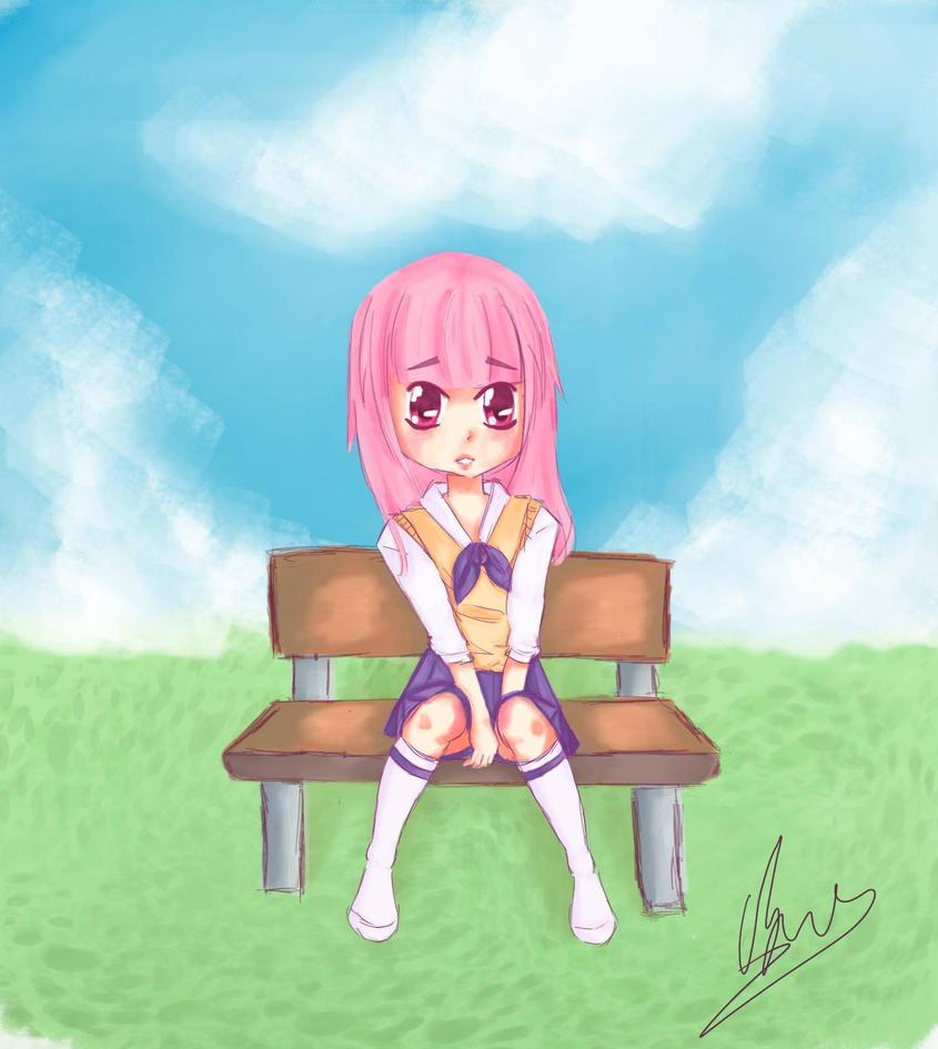 Shy girl on a bench by nemrac01