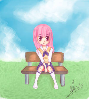 Shy girl on a bench