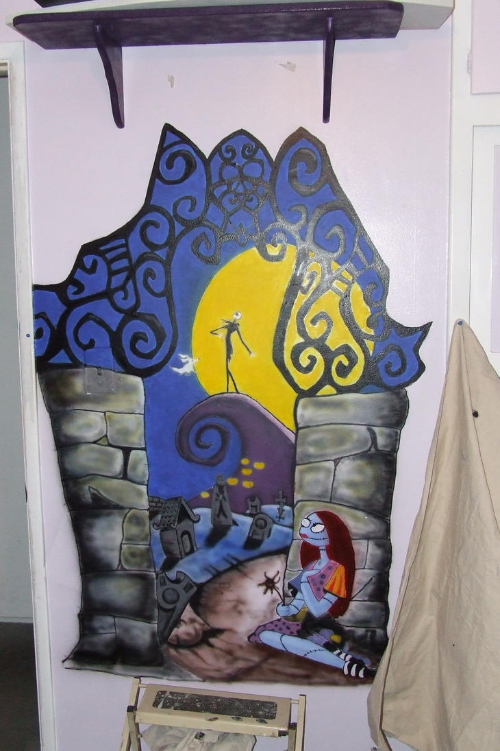 nightmare before christmas mural by tikijohn on deviantart. Black Bedroom Furniture Sets. Home Design Ideas
