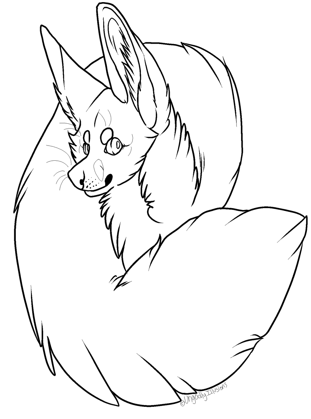 Free fennec fox badge template mspaint friendly by for Template of a fox