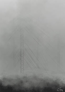 Radio Towers in the Mist