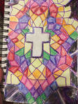 Stain glass in Crayon and Marker