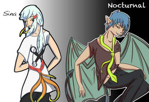 Sina and Nocturnal human versions by Mo-fox