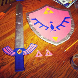 Pink Link Master Sword, Shield and Earings by SuzyMofo