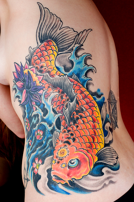 Female Japanese Tattoos Especially Koi Fish Tattoo Designs With Image Side Body Japanese Koi Fish Tattoos For Women Tattoo Gallery Picture 1