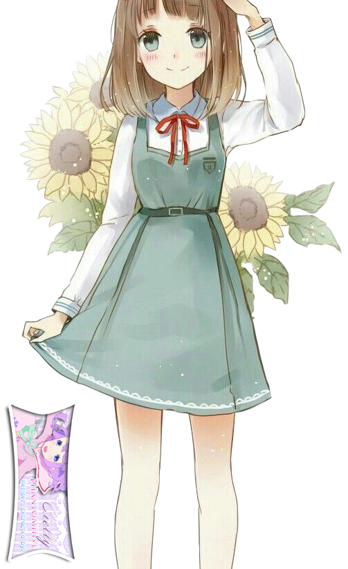 Cute Anime Girl with Sunflowers Extracted byCielly by CiellyPhantomhive on DeviantArt