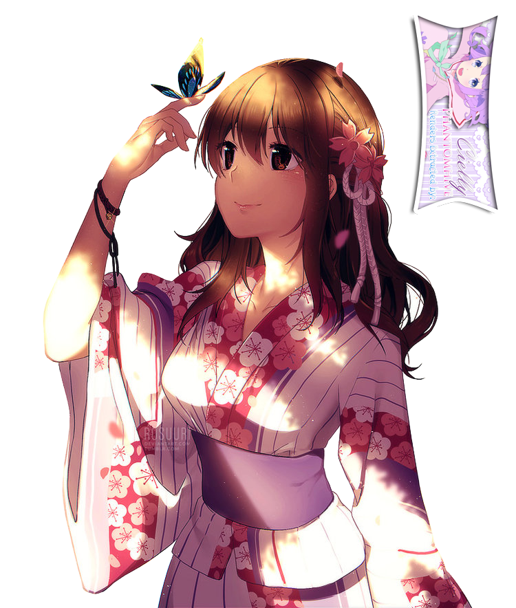 Cute Anime Girl In Kimono Extracted Bycielly By